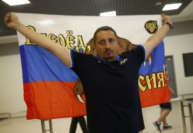 MOSCOW REGION, RUSSIA  JUNE 18, 2016: Alexander Shprygin, head of the Russian Football Supporters' Association, arrives at Sheremetyevo International Airport from Nice, France. France deports Russian football fans after mass fighting in the 2016 UEFA European Championship. Mikhail Japaridze/TASS (Photo by Mikhail JaparidzeTASS via Getty Images)