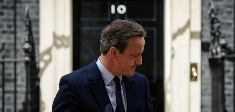 """British Prime Minister David Cameron leaves the lectern after speaking to the press in front of 10 Downing street in London on June 21, 2016.  Cameron warned today that a vote to leave the EU in less than 48 hours would damage the economy, representing a """"huge risk"""" for jobs and families. / AFP / LEON NEAL        (Photo credit should read LEON NEAL/AFP/Getty Images)"""