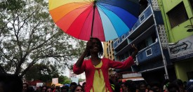 Indian members of the LGBT (Lesbian, Gay, Bisexual, Transgender) community take part in a pride parade, calling for freedom from discrimination on the grounds of sexual orientation, in Chennai on June 26, 2016. / AFP / ARUN SANKAR        (Photo credit should read ARUN SANKAR/AFP/Getty Images)