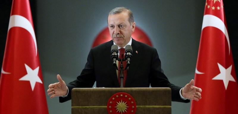 ANKARA, TURKEY - JUNE 27 :  President of Turkey, Recep Tayyip Erdogan speaks at Ramadan fast-breaking dinner at presidential complex in Ankara, Turkey on June 27, 2016. (Photo by