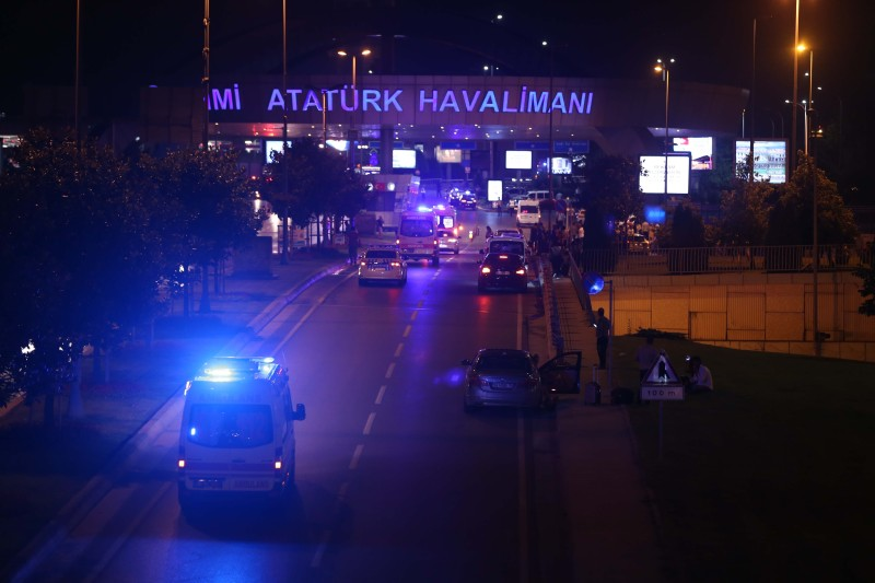 ISTANBUL, TURKEY - JUNE 28: Police blocks the entrance of the Ataturk International Airport after an explosion, in Istanbul, Turkey on June 28, 2016. Unspecified number of injured in explosion at Istanbul's Ataturk International Airport. (Photo by Veli Gurgah/Anadolu Agency/Getty Images)