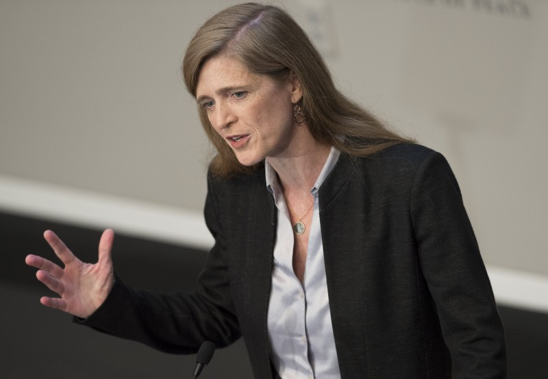US Ambassador to the United Nations Samantha Power speaks about the global refugee crisis at the United States Institute of Peace in Washington, DC, June 29, 2016. / AFP / SAUL LOEB        (Photo credit should read SAUL LOEB/AFP/Getty Images)