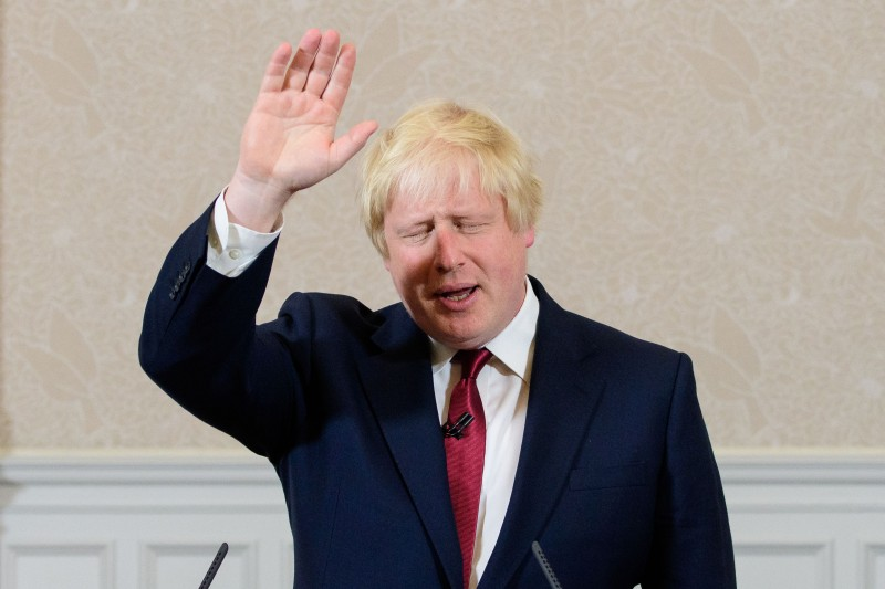 Brexit campaigner and former London mayor Boris Johnson waves after addressing a press conference in central London on June 30, 2016.  Top Brexit campaigner and former London mayor Boris Johnson said Thursday he will not stand to succeed Prime Minister David Cameron, as had been widely expected after Britain's vote to leave the European Union. The British pound spiked Thursday immediately after Boris Johnson said he will not stand in the Conservative leadership race. / AFP / LEON NEAL        (Photo credit should read LEON NEAL/AFP/Getty Images)