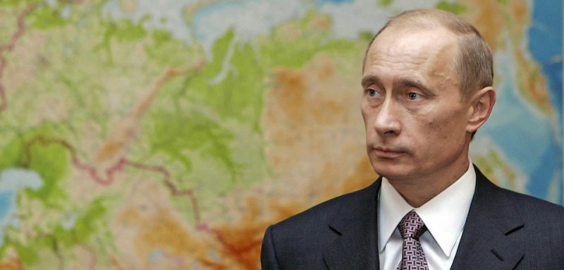 Novo Ogaryovo, RUSSIAN FEDERATION:  Russian President Vladimir Putin is seen in front of a map before some working meetings at his country residence of Novo Ogaryovo outside Moscow, 10 January 2006. The Presidents of Russia and Belarus have found a compromise solution to an oil transit row which has disrupted supplies to the European Union, the Belarus's presidency said in a statement on Wednesday. AFP PHOTO / ITAR-TASS POOL / PRESIDENTIAL PRESS SERVICE  (Photo credit should read DMITRI ASTAKHOV/AFP/Getty Images)