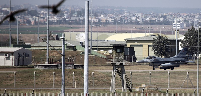 ADANA, TURKEY - JULY 24: A military aircraft of Turkish Air Force lands at the Incirlik 10th Tanker Base Command in Saricam district, Adana on July 24, 2015. On Friday, Turkish F-16 fighter jets hit three Daesh targets in Syria in the morning. Turkish jets carried out the operation without violating the Syrian airspace, according to a statement by the Prime Ministry. (Photo by Ibrahim Erikan/Anadolu Agency/Getty Images)