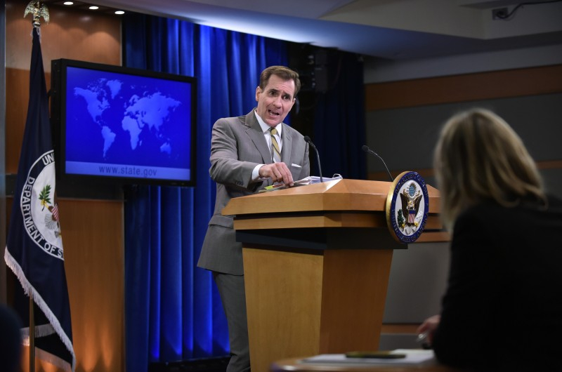 "State Department Spokesman John Kirby speaks during the daily briefing at the State Department on January 6, 2015 in Washington, DC. Even as world powers work to implement the Iran nuclear deal, North Korea's apparent detonation of a new bomb marks a stark setback for global anti-proliferation efforts. Kirby's message to Pyongyang was clear -- ""we have consistently made clear that we will not accept it as a nuclear state"" -- but not new. AFP PHOTO/MANDEL NGAN / AFP / MANDEL NGAN        (Photo credit should read MANDEL NGAN/AFP/Getty Images)"