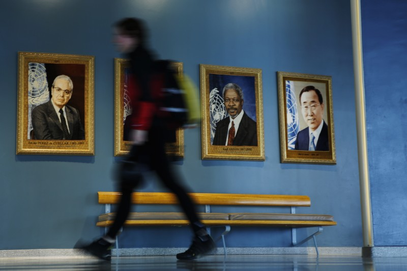 NEW YORK, NY - APRIL 14:  A woman walks along the United Nations (UN)  hallway before a meeting with candidates vying for the position of  secretary-general on April 14, 2016 in New York City.  At least eight candidates are running for the office - four men and four women. A woman selection would be the first for the UN. One top canadiate is former New Zealand Prime Minister Helen Clark.  (Photo by Eduardo Munoz Alvarez/Getty Images)