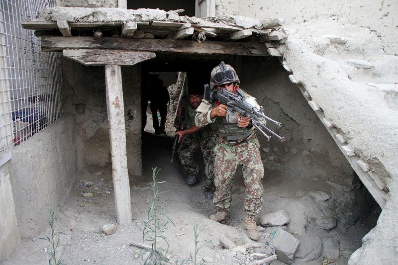 JALALABAD, July 26, 2016 -- Soldiers take part in a military operation against the Islamic State in Kot district of Nangarhar province, Afghanistan, on July 26, 2016. Militants loyal to the ultra-extremist group of the Islamic State have suffered major setback as 122 fighters of the armed outfit have been killed in the eastern Nangarhar province over the past 24 hours, spokesman for provincial government Attaullah Khogiani said Tuesday. (Xinhua/Rahman Safi via Getty Images)