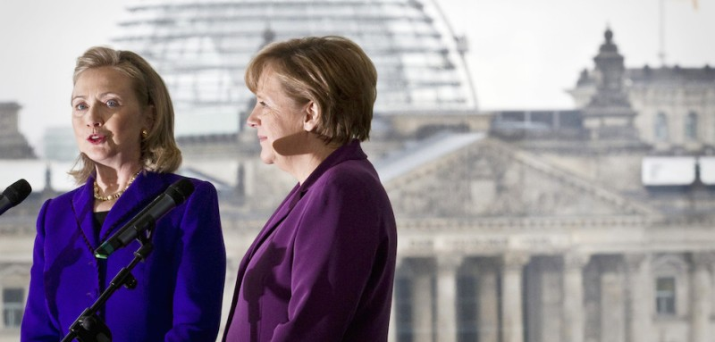 US Secretary of State Hillary Clinton (L) and German Chancellor Angela Merkel address the press after a meeting at the Federal Chancellery in Berlin, on April 14, 2011. Clinton is in Berlin to attend the two-day NATO Foreign Ministers meetings. AFP PHOTO / MICHAEL KAPPELER    GERMANY OUT (Photo credit should read MICHAEL KAPPELER/AFP/Getty Images)