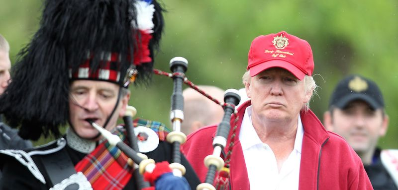 ABERDEEN, SCOTLAND - JULY 10:  Donald Trump arrives at the opening of The Trump International Golf Links Course in Balmedie on July 10, 2012 in Balmedie, Scotland.(Photo by Ian MacNicol/Getty Images)