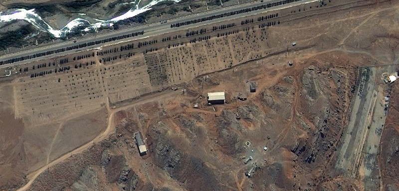 PARCHIN, IRAN-JUNE 12, 2012:  This is a satellite image of the Parchin high explosive test site collected on June 12, 2012.  (Photo DigitalGlobe via Getty Images)