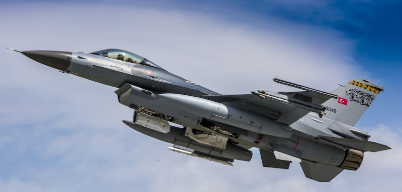 KONYA, TURKEY - MAY 12: A F-16 plane belonging to the Turkish Air Forces is seen in the sky during the NATO Tiger Meet 2015 drill press tour at the Konya 3rd Main Jet Base Command in Konya, Turkey on May 12, 2015. France, Italy, NATO, Poland, Switzerland, Holland and Turkish Armed Forces took part in the NATO Tiger Meet 2015 drill press tour. The Turkish Air Forces participated in the drill with its sixteen F-16 planes. (Photo by)