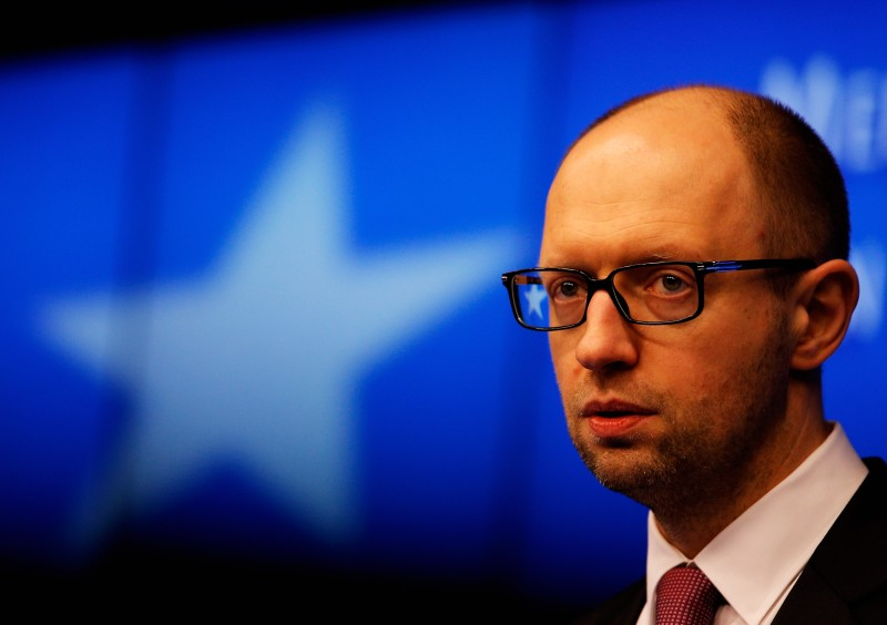 BRUSSELS, BELGIUM - MARCH 06:  Ukraine Prime Minister, Arseniy Yatseniuk speaks to the media during a meeting to discuss the situation in Ukraine at the European Union Council Building on March 6, 2014 in Brussels, Belgium. The EU leaders are attending an emergency summit in Brussels to decide how they should respond to the deployment of Russian troops in the Crimea. Russian forces have been on the ground in the Crimea since the change of government in Kiev when President Viktor Yanukovych was forced from power.  (Photo by Dean Mouhtaropoulos/Getty Images)