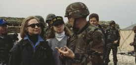 First Lady of the United States, Hillary Clinton and her daughter, Chelsea visit U.S. troops at Tuzla Air Base, Bosnia and Herzegovina, 25th March 1996. (Photo by )