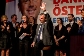 VIENNA, AUSTRIA - MAY 22: Norbert Hofer, presidential candidate of the right-wing populist Austrian Freedom Party (Freiheitliche Partei Oesterreichs, or FPOe), greets supporters at the FPOe election party following initial poll results during Austrian presidential elections on May 22, 2016 in Vienna, Austria. The FPOe is facing off against the Austrian Green Party and its presidential candidate, Alexander Van der Bellen. The FPOe's recent success is part of a larger trend across Europe in which right-wing parties have gained ground, in part due to public unease over the large influx of refugees and migrants over the past year and a half. (Photo by Jan Hetfleisch/Getty Images)