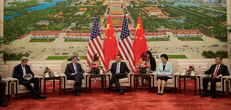 BEIJING, CHINA - JUNE 7: US Secretary of State John Kerry (L) speaks with China's President Xi Jinping (R) as they sit next to Chinese vice premiers Liu Yandong (R) and  US Treasury Secretary Jacob Lew (L) at the Great Hall of the People at the end of the eight round of U.S-China strategic and economic dialogues on June 7, 2016 in Beijing, China. Kerry has been in China for talks on a variety of issues including seeking diplomatic solutions for the South China Sea. (Photo by Nicolas Asfouri - Pool/Getty Images)