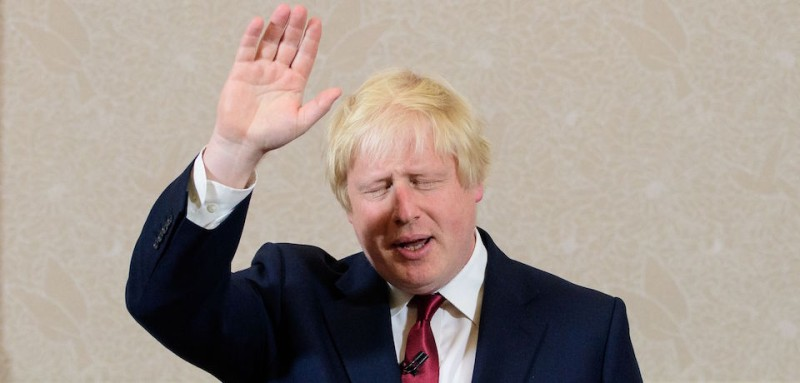 Brexit campaigner and former London mayor Boris Johnson waves after addressing a press conference in central London on June 30, 2016.