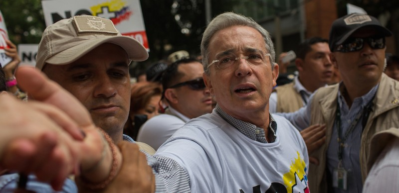 MEDELLIN, COLOMBIA - APRIL 2: Former President of Colombia, Álvaro Uribe, greets supporters during the demonstration against the Peace Process in Medellin, April 2nd, 2016. People took the streets of Colombia against Government polices including the the way the peace treaty is being handle. (Photo by Eduardo Leal For The Washington Post via Getty Images)