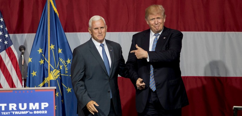 WESTFIELD, IN - JULY 12:   Republican presidential candidate Donald Trump greets Indiana Gov. Mike Pence at the Grand Park Events Center on July 12, 2016 in Westfield, Indiana. Trump is campaigning amid speculation he may select Indiana Gov. Mike Pence as his running mate. (Photo by )
