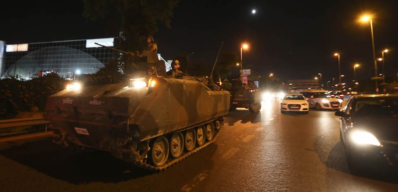 ISTANBUL, TURKEY - JULY 16: Turkish Armys APC's move in the main streets in the early morning hours of July 16, 2016 in Istanbul, Turkey. Istanbul's bridges across the Bosphorus, the strait separating the European and Asian sides of the city, have been closed to traffic. Reports have suggested that a group within Turkey's military have attempted to overthrow the government. Security forces have been called in as Turkey's Prime Minister Binali Yildirim denounced an 'illegal action' by a military 'group', with bridges closed in Istanbul and aircraft flying low over the capital of Ankara (Photo by )