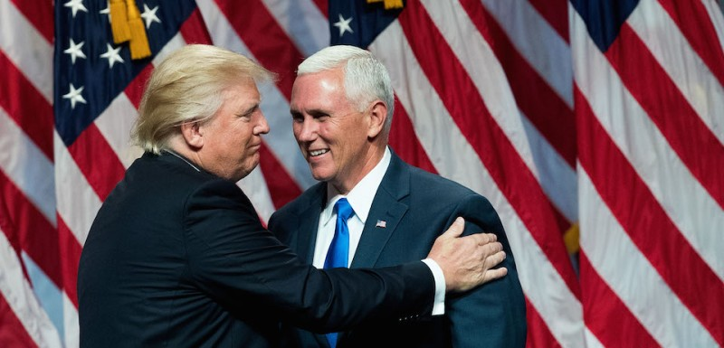 NEW YORK, NY - JULY 16: (L to R) Republican presidential candidate Donald Trump introduces his newly selected vice presidential running mate Mike Pence, governor of Indiana, during an event at the Hilton Midtown Hotel, July 16, 2016 in New York City. On Friday, Trump announced on Twitter that he chose Pence to be his running mate. (Photo by Drew Angerer/Getty Images)