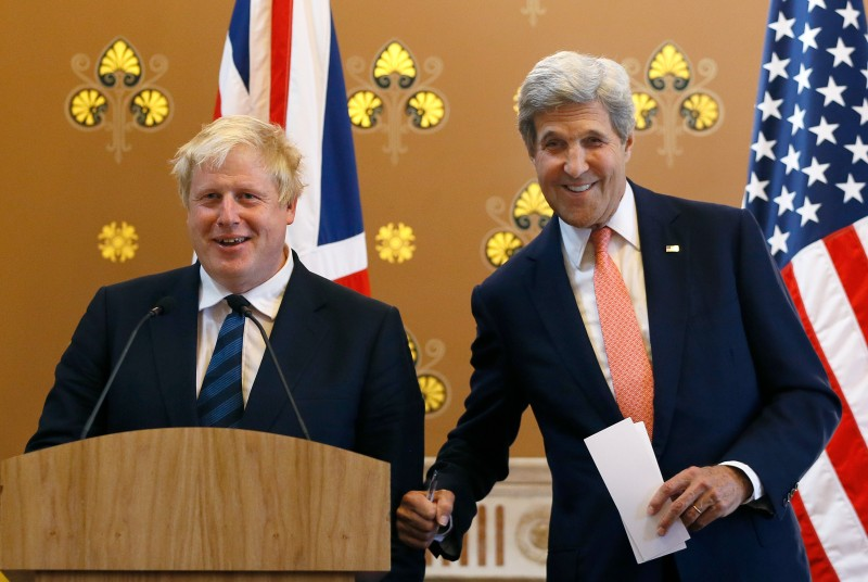LONDON, ENGLAND - JULY 19: Britain's Foreign Secretary Boris Johnson (L) and U.S. Secretary of State John Kerry joke together during a press conference at the Foreign and Commonwealth Office on July 19, 2016 in London, England. The Foreign Secretary met with John Kerry to discuss the importance of the 'Special Relationship' after the UK voted to leave the EU in the June referendum.  (Photo by Kirsty Wigglesworth - WPA Pool / Getty Images)