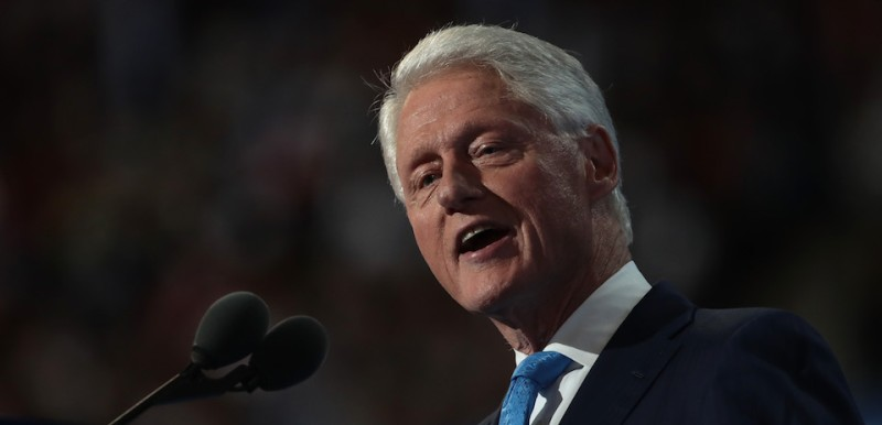 PHILADELPHIA, PA - JULY 26:  Former US President Bill Clinton delivers remarks on the second day of the Democratic National Convention at the Wells Fargo Center, July 26, 2016 in Philadelphia, Pennsylvania. Democratic presidential candidate Hillary Clinton received the number of votes needed to secure the party's nomination. An estimated 50,000 people are expected in Philadelphia, including hundreds of protesters and members of the media. The four-day Democratic National Convention kicked off July 25.  (Photo by )