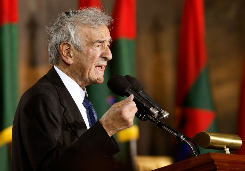 WASHINGTON - APRIL 23: ( AFP OUT)  Holocaust survivor and Nobel Prize winning auther Elie Wiesel speaks during the Holocaust Days Of Remembrance ceremony in the Rotunda of the U.S. Capitol April 23, 2009 in Washington, DC. Estabilished in 1993, the Days of Remembrance are commemorated in April so that they coincide with the observance in Israel.  (Photo by Chip Somodevilla/Getty Images)