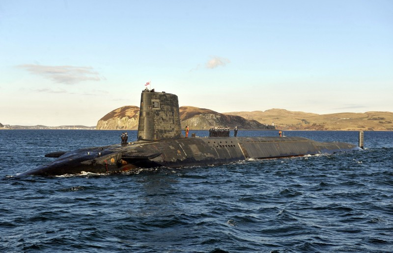 A picture shows the Trident Nuclear Submarine, HMS Victorious, on patrol off the west coast of Scotland on April 4, 2013 before the visit of British Prime Minister David Cameron. AFP PHOTO/ANDY BUCHANAN        (Photo credit should read Andy Buchanan/AFP/Getty Images)