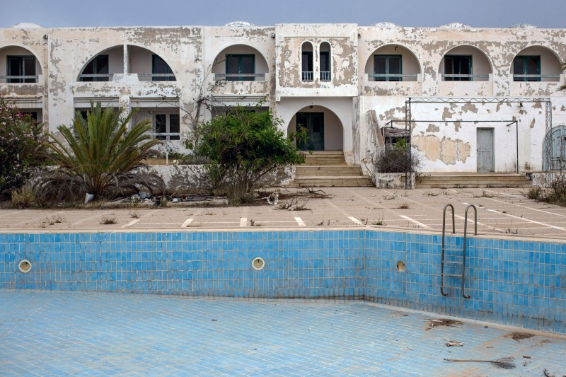 DJERBA, TUNISIA - JUNE 30: A general view of an abandoned hotel on June 30, 2016 in Djerba, Tunisia. Before the 2011 revolution, tourism in Tunisia accounted for approximately 7% of the countries GDP. The two 2015 terrorist attacks at the Bardo Museum and Sousse Beach saw tourism numbers plummet even further forcing hotels to close and many tourism and hospitality workers to lose their jobs.  (Photo by Chris McGrath/Getty Images)