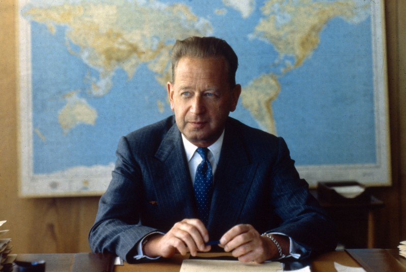 circa 1957:  Swedish politician and diplomat Dag Hammarskjold (1905 - 1961), he died in an aircrash in Zambia while Secretary General of the United Nations.  (Photo by MPI/Getty Images)