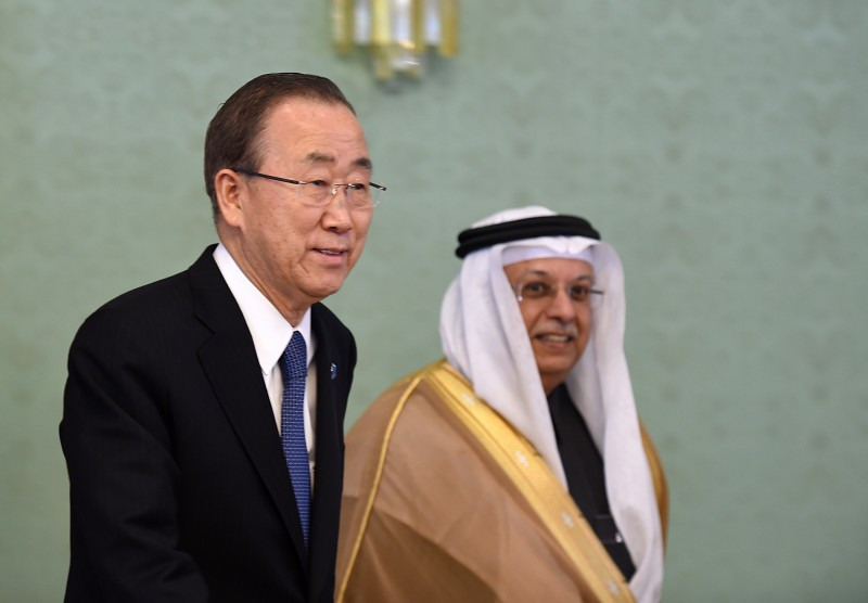 UN Secretary General Ban Ki-Moon (L) arrives with Saudi permanent representative to the UN Abdullah al-Muallami for a press conference on February 8, 2015 in Riyadh. Ban Ki-moon arrived in Saudi Arabia on his first visit since King Salman acceded to the throne following last month's death of his half-brother Abdullah. AFP PHOTO/FAYEZ NURELDINE        (Photo credit should read FAYEZ NURELDINE/AFP/Getty Images)