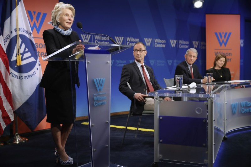 WASHINGTON, DC - MAY 24:  (L-R) Woodrow Wilson Center President and CEO Jane Harman (L) introduces a panel that includes (2nd L-R) National Public Radio Global Health and Development Correspondent Jason Beaubien, National Institute of Allergy and Infectious Director Anthony Fauci and Google Vice President of Public Policy Susan Molinari for a discussion on 'Zika in the U.S.: Can We Manage the Risk?' at the Woodrow Wilson Center May 24, 2016 in Washington, DC. A mosquito borne virus, Zika is expected to arrive in the United States this summer. Fauci noted that 80-percent of people infected with Zika never show symptoms of the disease and encourgaed people who have traveled to places with outbreaks should continue to wear mosquito repellant long after returning to the United States to reduce the risk of spreading the virus.  (Photo by Chip Somodevilla/Getty Images)