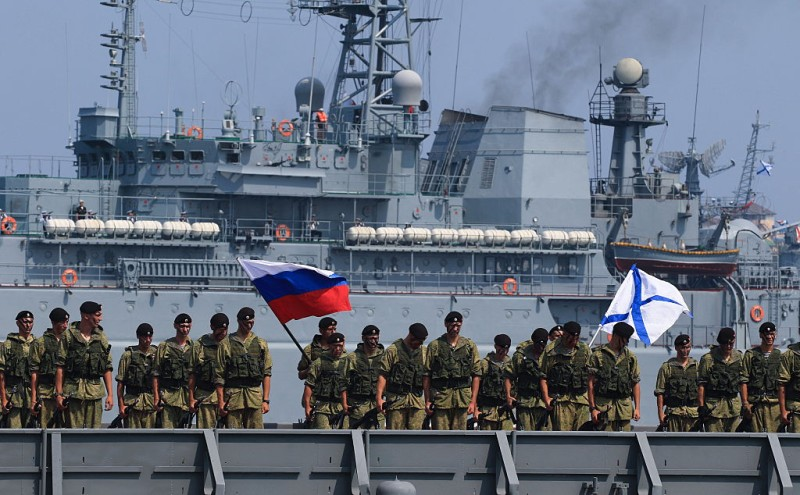 SEVASTOPOL, RUSSIA - JULY 31, 2016: Russian servicemen take part in a ship parade marking Russian Navy Day. Alexei Pavlishak/TASS (Photo by Alexei PavlishakTASS via Getty Images)