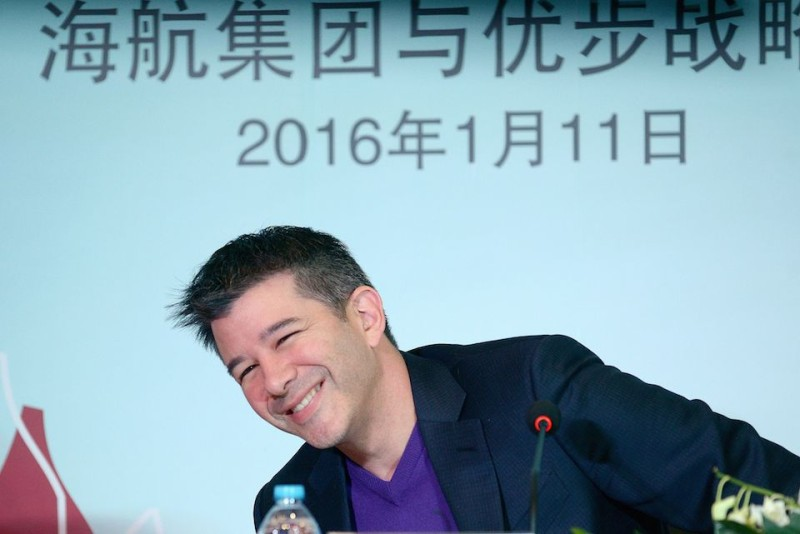 Travis Kalanick, CEO of the global ridesharing service Uber, smiles as he attends a press conference in Beijing on January 11, 2016.  Uber launched in China in February, 2014 and is active in 21 cities there, with plans to be in 100 cities within a year.      AFP PHOTO / WANG ZHAO / AFP / WANG ZHAO        (Photo credit should read WANG ZHAO/AFP/Getty Images)