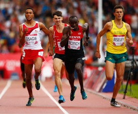 GLASGOW, SCOTLAND - JULY 29:  (L-R) Andrew Osagie of England, Joe Thomas of Wales, Ferguson Rotich of Kenya and Jeffrey Riseley of Australia sprint to the finish in the Men's 800 metres heats at Hampden Park during day six of the Glasgow 2014 Commonwealth Games on July 29, 2014 in Glasgow, United Kingdom.  (Photo by Clive Rose/Getty Images)