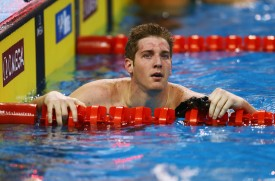 DOHA, QATAR - DECEMBER 04:Jimmy Feigen of the USA looks on during day two of the 12th FINA World Swimming Championships (25m) at the Hamad Aquatic Centre on December 4, 2014 in Doha, Qatar.  (Photo by Francois Nel/Getty Images)