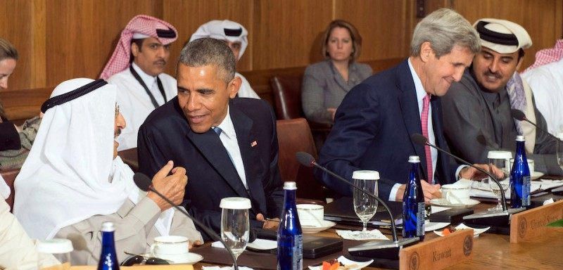 CAMP DAVID, MD - MAY 14: U.S. President Barack Obama talks to Sheikh Sabah Al-Ahmed Al-Jaber Al-Sabah, Amir of the State of Kuwait, while Secretary of State John Kerry talks to Sheikh Tameem Bin Hamad Al-Thani, Amir of the State of Qatar during a working lunch at the Gulf Cooperation Council-U.S. summit on May 14, 2015 at Camp David, Maryland. Obama hosted leaders from Saudi Arabia, Kuwait, Bahrain, Qatar, the United Arab Amirates and Oman to discuss a range of issues including the Iran nuclear deal. (Photo by )