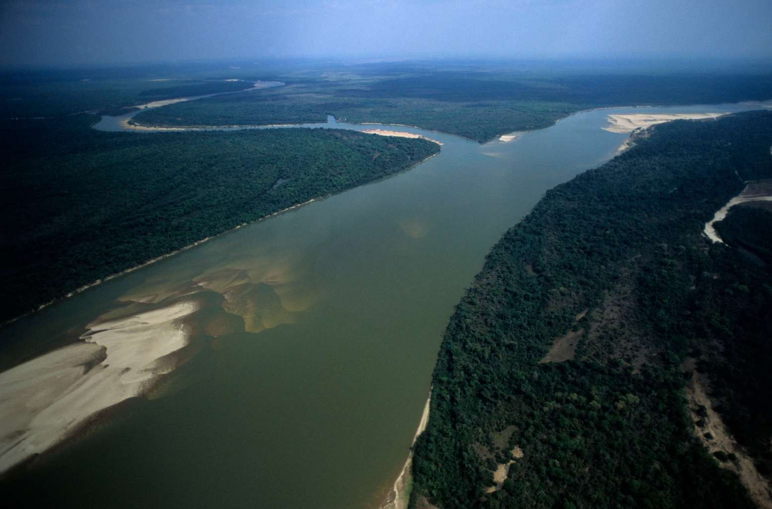 BANANAL ISLAND, BRAZIL - 2015/11/24: Banks of the Araguaia river showing sand slopes - fluvial beach or river beach - at Ilha do Bananal ( Bananal island ), the world´s largest fluvial island, Amazon rainforest, Brazil. (Photo by Jose Caldas/Brazil Photos/LightRocket via Getty Images)