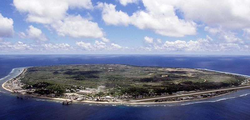 NAURU, NAURU:  The barren and bankrupt island state of the Republic of Nauru awaits the arrival of 521 mainly Afghan refugees, 11 September 2001 which have been refused entry into Australia.  The 25-square-kilometers of land encompassing Nauru has been devastated by phosphate mining which once made the Micronesian Nauruans the second wealthiest people per capita on earth.          AFP PHOTO/Torsten BLACKWOOD (Photo credit should read )