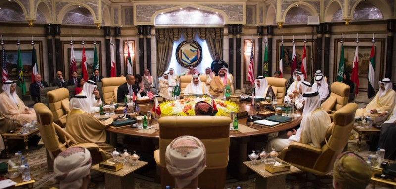 "A picture taken on April 21, 2016 shows US President Barack Obama (C-L) attending a meeting with Saudi King Salman (C) and Saudi Defence Minister and Deputy Crown Prince Mohammed bin Salman (C-R) during the US-Gulf Cooperation Council Summit in Riyadh, on April 21, 2016. During a meeting with Gulf leaders in Saudi Arabia Obama said that ""No country has an interest in 'conflict' with Iran"".     / AFP / Jim Watson        (Photo credit should read JIM WATSON/AFP/Getty Images)"