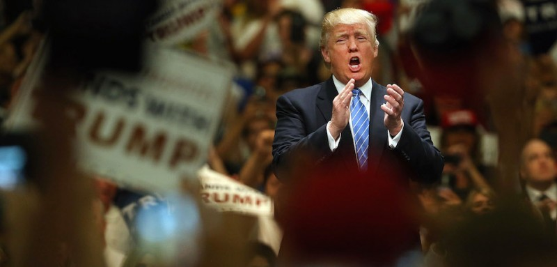 ANAHEIM, CA - MAY 25:  Donald Trump speaks at a rally on May 25, 2016 in Anaheim, California. The presumptive Republican presidential candidate is on a Western campaign swing. A rally in Albuquerque, New Mexico yesterday turned violent on Tuesday, leading to at least one arrest and several injuries, police say.  (Photo by Spencer Platt/Getty Images)
