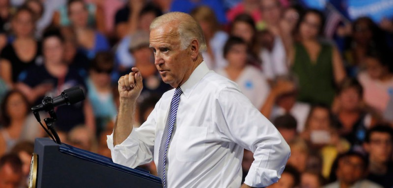 Vice President Joe Biden speaks at a campaign rally for Democratic presidential nominee Hillary Clinton in Scranton, Pennsylvania, on Aug. 15, 2016.
