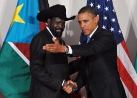 US President Barack Obama shows the way to South Sudan President Salva Kiir Mayardit September 21, 2011 at the Waldorf Astoria Hotel in New York City. AFP PHOTO/Mandel NGAN (Photo credit should read MANDEL NGAN/AFP/Getty Images)