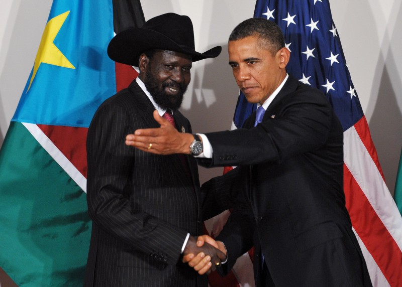 US President Barack Obama shows the way to South Sudan President Salva Kiir Mayardit September 21, 2011 at the Waldorf Astoria Hotel in New York City. AFP PHOTO/Mandel NGAN (Photo credit should read MANDEL NGAN/AFP/Getty Images)