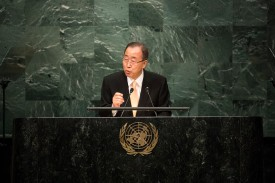 NEW YORK, NEW YORK - SEPTEMBER 20: U.N. Secretary General Ban Ki-moon addresses the United Nations General Assembly at UN headquarters, September 20, 2016 in New York City. According to the UN Secretary-General Ban ki-Moon, the most pressing matter to be discussed at the General Assembly is the world's refugee crisis. (Photo by Drew Angerer/Getty Images)
