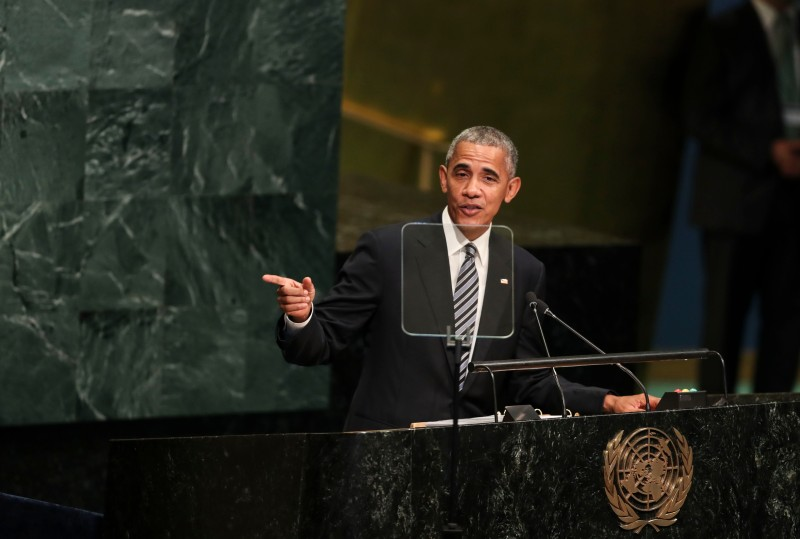 UNITED NATIONS, Sept. 20, 2016  -- U.S. President Barack Obama speaks at the 71st session of the United Nations General Assembly at the United Nations headquarters in New York, on Sept. 20, 2016. The 71st session of the UN General Assembly on Tuesday opened its annual high-level General Debate at the UN headquarters in New York, with a focus on pushing for the world's sustainable development. (Xinhua/Wang Ying via Getty Images)