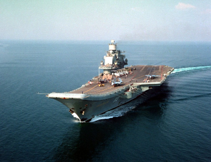 Tbilisi aircraft carrier (later renamed Admiral Kuznetsov) undergoes testing in the Black Sea. Tbilisi aircraft carrier is pictured during a cruise. Photo TASS / A. Kremko   (Photo by TASS via Getty Images)