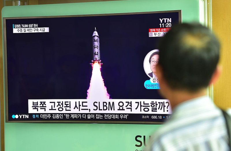 "A man watches a television screen reporting news of North Korea's latest submarine-launched ballistic missile test at a railway station in Seoul on August 25, 2016. North Korean leader Kim Jong-Un declared a recent submarine-launched ballistic missile (SLBM) test the ""greatest success"", Pyongyang's state media said on August 25. / AFP / JUNG YEON-JE        (Photo credit should read JUNG YEON-JE/AFP/Getty Images)"