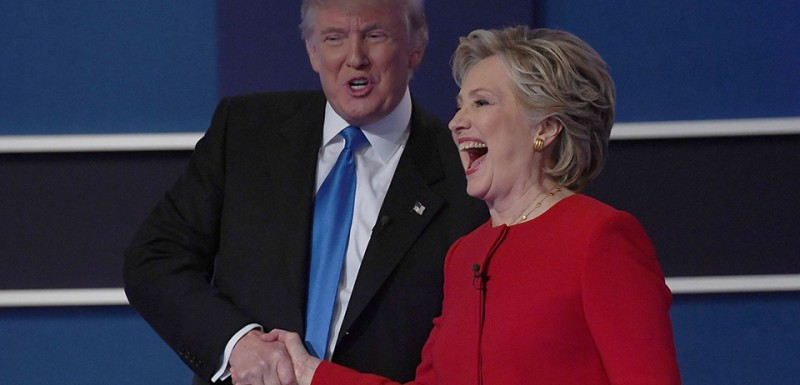 Democratic nominee Hillary Clinton shakes hands with Republican nominee Donald Trump after the first presidential debate at Hofstra University in Hempstead, New York on September 26, 2016. / AFP / Jewel SAMAD        (Photo credit should read JEWEL SAMAD/AFP/Getty Images)